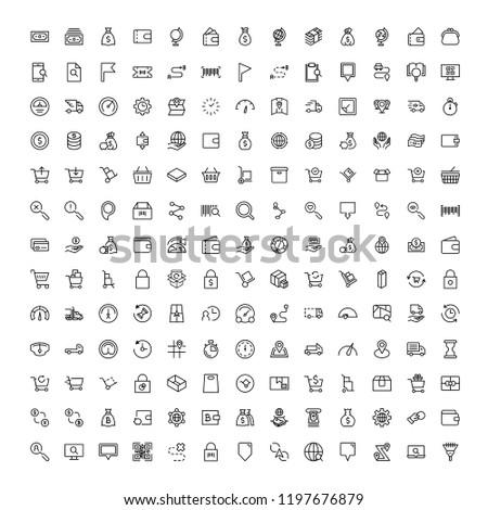 Online market flat icon set. Single high quality outline symbol of info for web design or mobile app. Thin line signs for design logo, visit card, etc. Outline logo of graphic online market