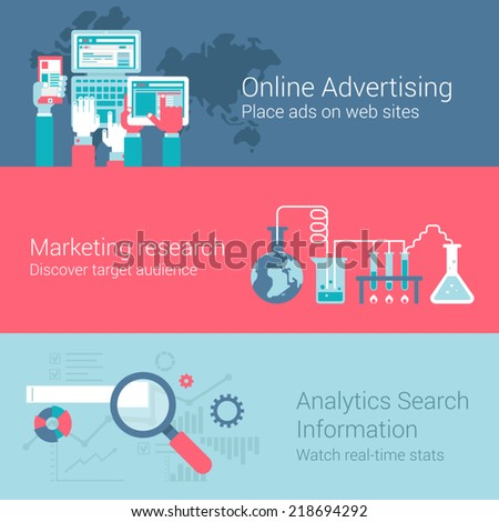 Online marketing advertisement concept flat icons set of hands touch screen tablet phone laptop ads research audience analytics vector web illustration website click infographics elements collection