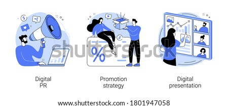 Online marketing campaign abstract concept vector illustration set. Digital PR, promotion strategy, digital presentation, reputation management, customer loyalty, brand awareness abstract metaphor. Stockfoto ©