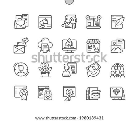 Online marketing. Creative startup. Branding, analytics, campaign, content, target, profit, growth and support. Pixel Perfect Vector Thin Line Icons. Simple Minimal Pictogram