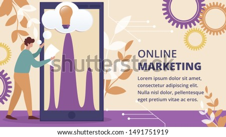 Online Marketing Horizontal Banner. Businessman Stand at Huge Smartphone with Data Analysis Diagram and Glowing Light Bulb on Screen with Cogwheels and Plants around. Cartoon Flat Vector Illustration