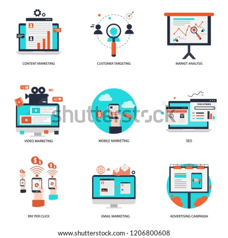 Online Marketing strategy flat icon sign business graphic web internet mobile phone pay per click data social market analysis communication SEO development digital e-commerce search blog concept email
