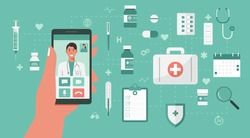 online medical concept, human hand holding phone with doctor on screen and medicine on background, flat vector illustration