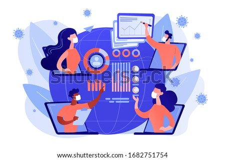 Online medical conference, virus spread analysis, world data, death toll. Covid-2019 dynamics, preventive measures, CDC and healthcare system response concept. Coral blue vector isolated illustration
