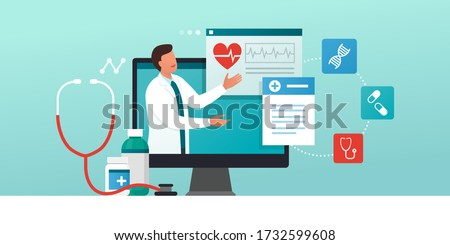 Online medical consultation and prescription medicine: professional doctor connecting and giving a consultation for a patient, telemedicine concept Stock photo ©