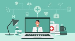 online medical consultation and support concept, healthcare services, doctor teleconferencing with stethoscope on laptop screen, conference video call, new normal, icon flat vector illustration