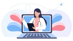 Online medical consultation and support. Online doctor. Healthcare services, Ask a doctor. Family female doctor, gynecologist with stethoscope on the laptop screen.  Vector for clinic web site, app