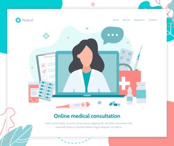 Online medical consultation. Doctor in your computer. Landing page template. Flat vector illustration.