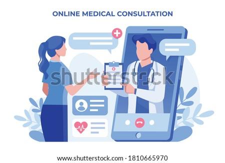 Online medical consultation illustration concept