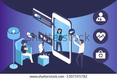 Online medical consultation, medical, doctor, people, man, woman, furniture, chat, smartphone in isometric style. This is happening against a blue background. #1307195782