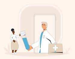 Online medical consultation. Telemedicine. Doctor distant advise. Health care by internet. Healthcare services. Vector flat line illustration.