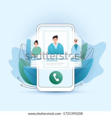 Online medical consultation vector flat concept. Choose your doctor, therapist in your smartphone. Phone screen with choosen therapist and online session. Online medical advise tele medicine.