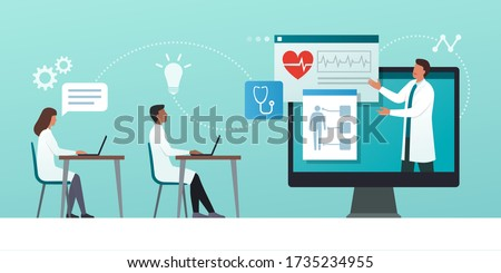 Online medical webinar and medicine courses: doctor teaching to academic students in the virtual class