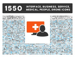 Online Medicine and other web interface, business tools, people poses, medical service vector icons. Style is flat symbols, bicolored, rounded angles, white background.
