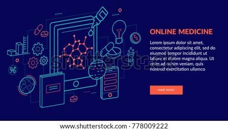 Online Medicine Concept for web page, banner, presentation. Vector illustration