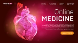 Online medicine landing page template or medical hero banner design concept. Human heart outline organ vector illustration in 3d line art style on abstract background