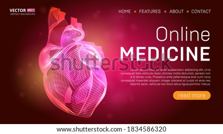 Online medicine landing page template or medical hero banner design concept. Human heart outline organ vector illustration in 3d line art style on abstract background Foto stock ©
