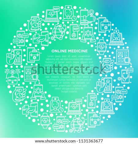 Online medicine, telemedicine concept in circle with thin line icons: pill timer, ambulance online, medical drone, tracker, mHealth, messenger. Modern vector illustration, print media template.