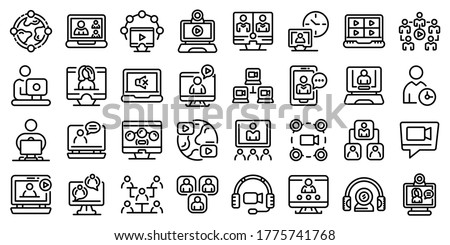 Online meeting icons set. Outline set of online meeting vector icons for web design isolated on white background