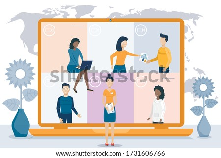 Online meeting.Video conference. People on computer and smartphone screen. Virtual work meeting. Flat vector illustration