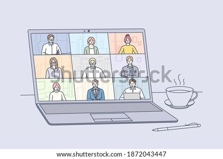 Online meeting, Virtual conference and video call concept. Laptop screen with people partners meeting members taking part in online business meeting and distant negotiations vector illustration