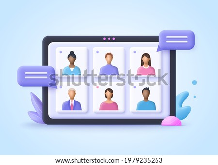 Online Meeting, Virtual Conference Video call, Briefing, Teamwork Concept. 3d realistic vector illustration.