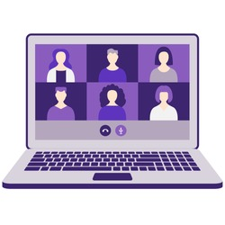 Online meeting with colleagues or friends on laptop. Work from home, communication, webinar, team digital discussion. Remote online work. Video chat conference. Isolated monochromatic flat vector.