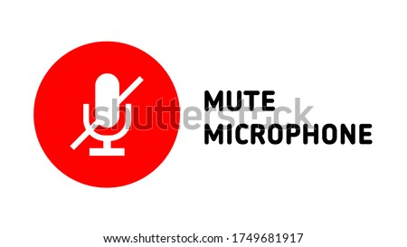 online meetings mute microphone icon button cover thumbnail symbol vector Сток-фото ©