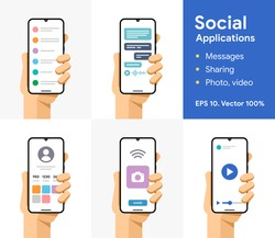 Online message, chat, share, photo, video, pictures. Communication via smartphone. Phone in user hand. Social media application. EPS 10