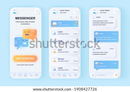 Online messenger unique neomorphic design kit. Social network texting service with user profile contacts and chat screens. UI UX templates set. Vector illustration of GUI for responsive mobile app.