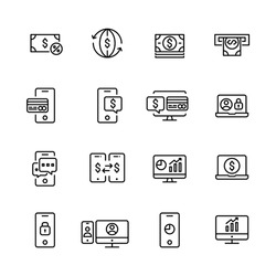 Online mobile banking icons set. Cash, ATM machine, user, safe transfers. Pixel perfect. Editable stroke.