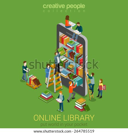 Online mobile library creative modern 3d flat design web isometric concept. Library shelf in smart phone tablet micro people on ladders reading put take off books. World knowledge in pocket.