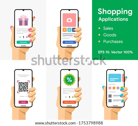 Online mobile shop, sale, goods, purchase, discount, qr code scanning. Shopping via smartphone. Phone in user hand. Commerce application. EPS 10