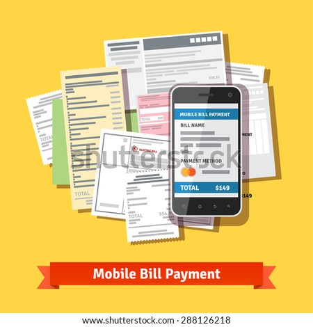 Online mobile smartphone bill payment. Phone laying down on bill heap. Flat vector icon.