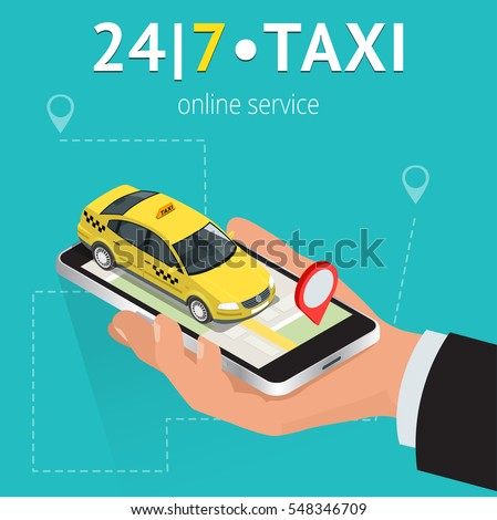 Online mobile taxi order service app concept. Isometric taxi yellow cab and GPS route point pins on smartphone and touchscreen vector illustration.