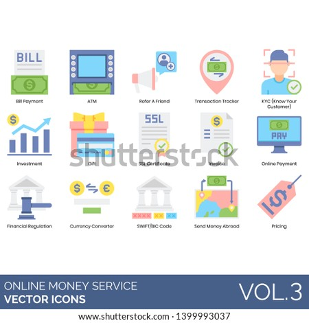 Online money service icons including bill payment, ATM, refer a friend, transaction tracker, KYC, gift, SSL certificate, invoice, financial regulation, currency converter, SWIFT, BIC code, send abroad