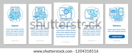 Online money transaction onboarding mobile app page screen with linear concepts. E-payment system steps graphic instructions. UX, UI, GUI vector template with illustrations