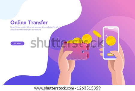 Online money transfer illustration vector illustration concept with hand holding smartphone and press send button ,  can use for, landing page, template, ui, web, mobile app, poster, banner, flyer