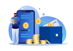 Online money transfer, mobile payments vector illustration concept with  smartphone and wallet , can use for landing page, template, ui, web, mobile app, poster, banner, flyer