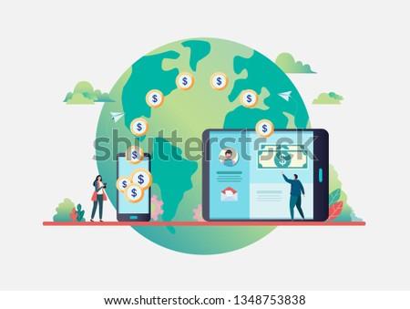 Online money transfer. People send money via smartphone. internet banking. worldwide payment. Flat vector illustration modern character design. For a landing page, banner, flyer, web page.