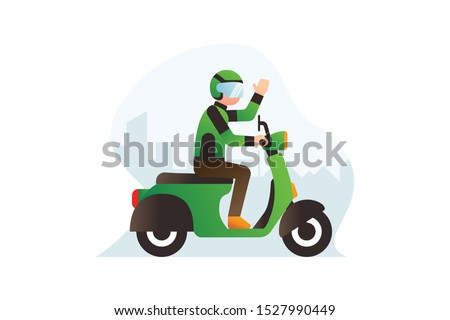 Online Motorcycle Taxi Rider Or Driver Illustration Vector Wear Green Jacket And Helmet Riding Scooters With City Building Silhouette Background