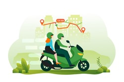 Online motorcycle transportation concept with gps navigation. Illustration for webpage, landing page, infographic and banner