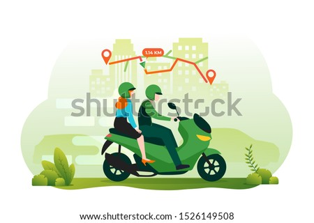 Online motorcycle transportation concept with gps navigation. Illustration for webpage, landing page, infographic and banner stock photo