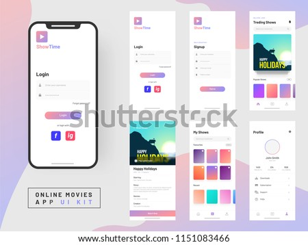 Online Movie App UI Kit for responsive mobile app or website with different GUI layout including Login, Create Account, Profile, Transaction and Notification screens.