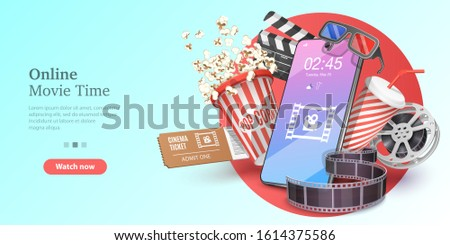 Online Movie Time, Mobile Movie Theater, Cinematography and Filmmaking, Ticket Ordering. Vector Template for Web Banner or Website Landing Page.