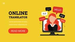 Online multi language translator. Woman on computer talking different languages. Translation app. Landing page template. Modern flat design concept of web page design.