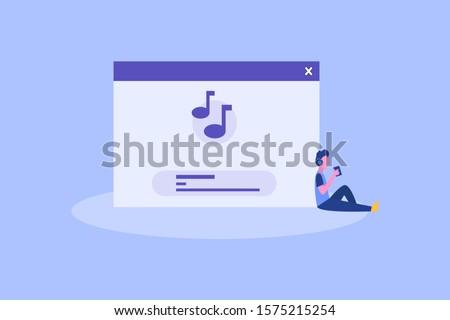 Online Music. Online Podcast illustration concept for web landing page template, banner, flyer and presentation