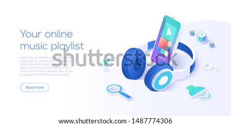Online music playlist concept in isometric vector illustration. Smartphone streaming audio player app and headphones playing mp3. Web banner layout template for website or social media.