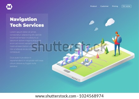 Online Navigation template in isometric vector