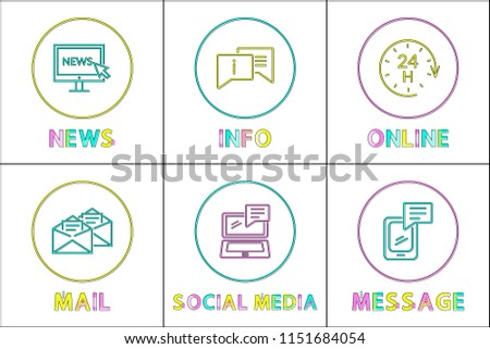 Online news and info, mail and message, social media icons. Monitor with cursor, laptop and gadget concept and web design linear outlines in circles